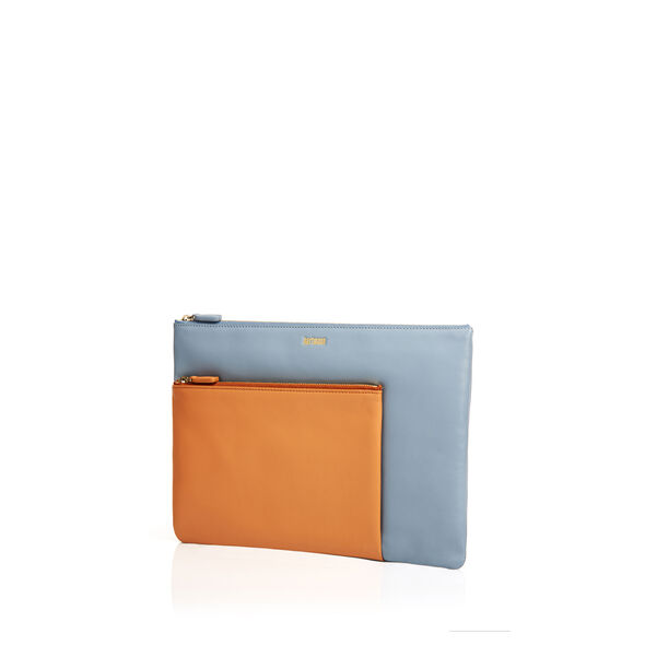 Hartmann Hollic Large Pocket Clutch in the color Salmon/Sky Blue.