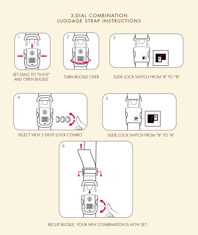 Hartmann 3-Dial Luggage Strap Instructions.