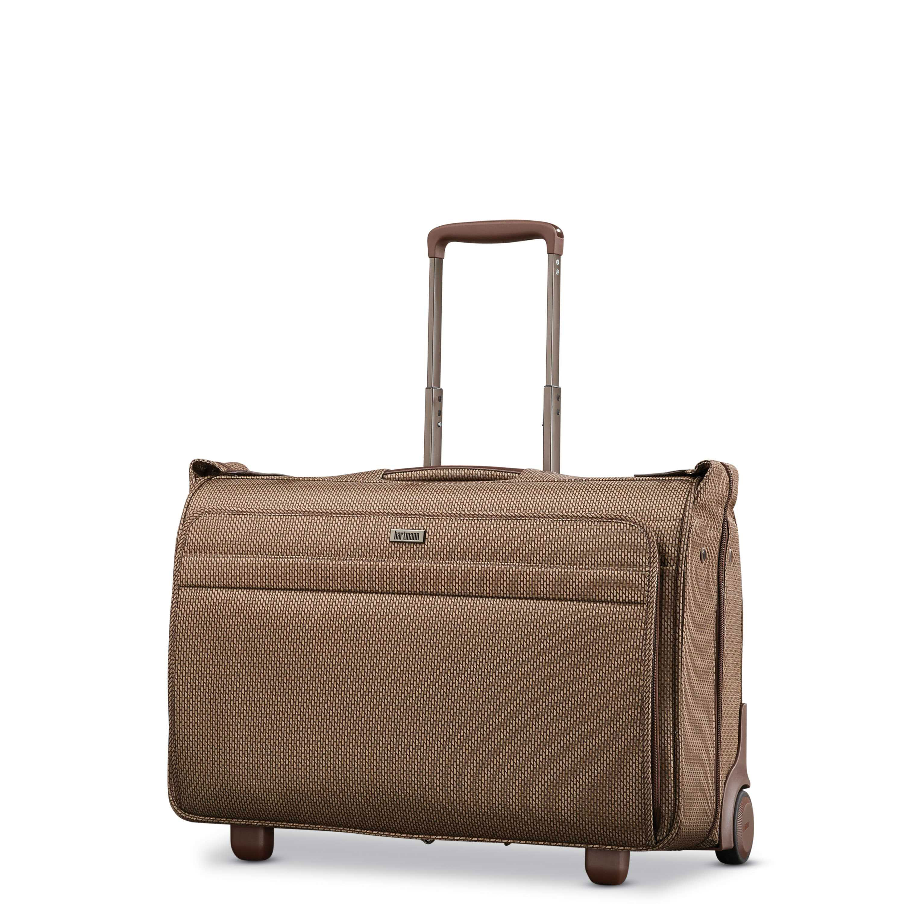 Hartmann Century Carry On Wheeled Garment Bag In The Color Mocha Monogram